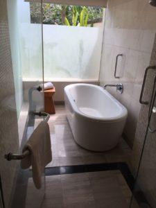 バスルーム。バルコニーに面しており明るいです。(スリガラスで外は見えません。)