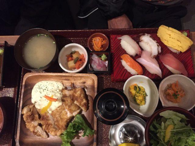 チキン南蛮寿司御膳。チキン南蛮も本物の味でした。