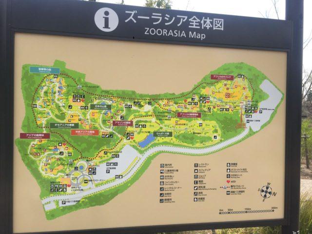 ズーラシアの全体地図。 遊具は大きく3か所「サバンナの遊び場」「ころころ広場」「みんなのはらっぱ」にあります。