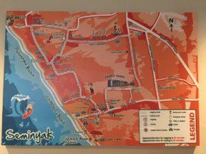 ハリスホテルスミニャックのジムの壁に貼ってあった、ホテル周辺マップ。 おススメのサイクリングとジョギングコースが書いてあります。