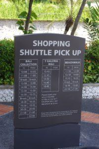 バリコレクション行のシャトルバスの時刻表です。