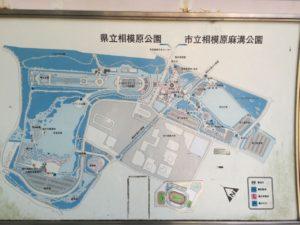 麻溝公園と相模原公園の地図。大きな公園です。
