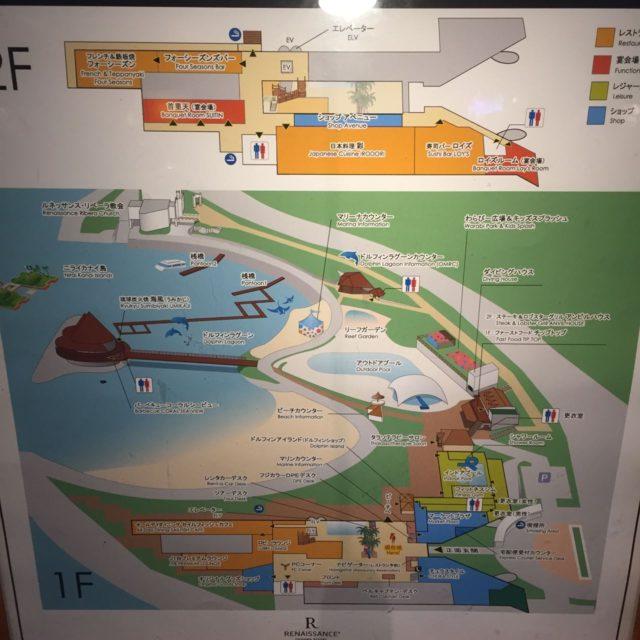 ホテル内の主要施設のマップです。広いホテル内に子供向けの施設がたくさんあります。