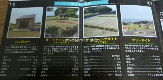 ソレイユキャンプ場の各サイトの詳細