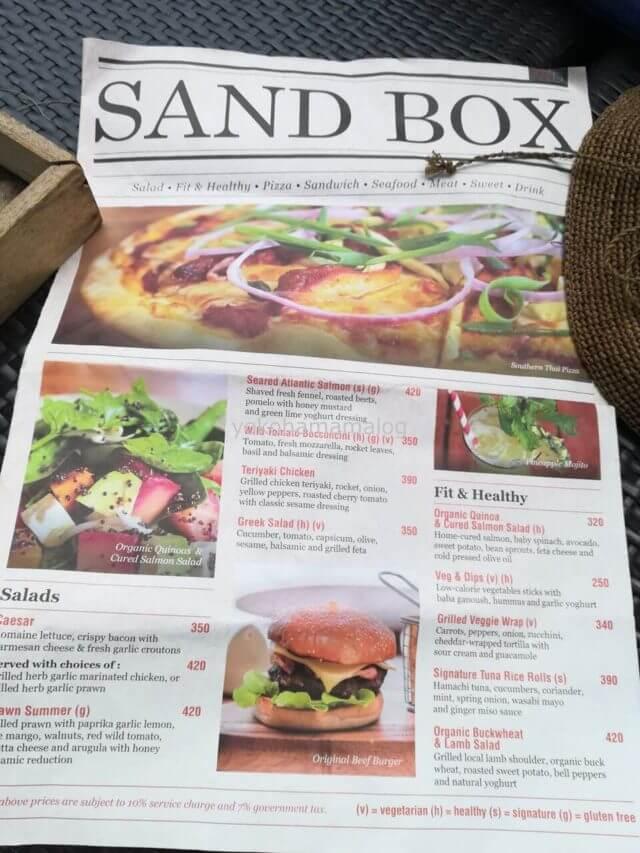 ルネッサンスプーケットのレストラン「サンドボックス」のメニュー