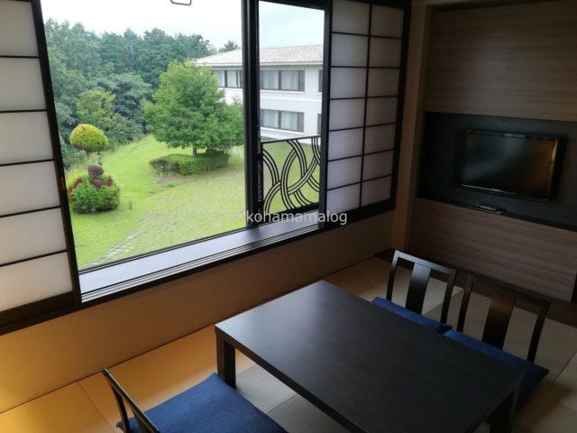 和室と和室からの景観。テレビはこちらにあります。