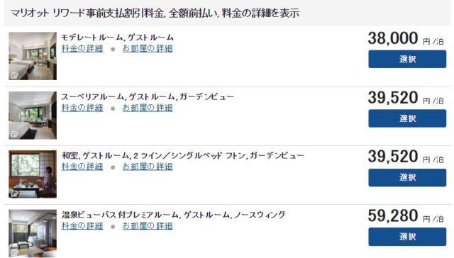 軽井沢マリオットの宿泊料金。ポイントを使ってのプレミアムルーム宿泊がお得です。