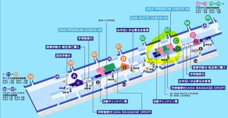 羽田空港のANAラウンジの場所です。黄色の〇の部分にラウンジ入口があります。