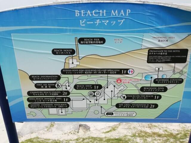 万座ビーチのマップです。駐車場は左下方向です。